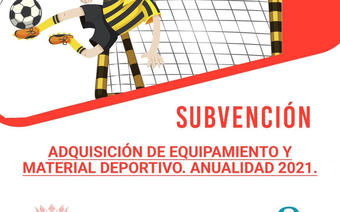 Subvención para adquisición de equipamiento y material deportivo